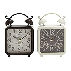 Deco 79 Metal Desk Clock 2 Assorted 6 W, 9 H-92208