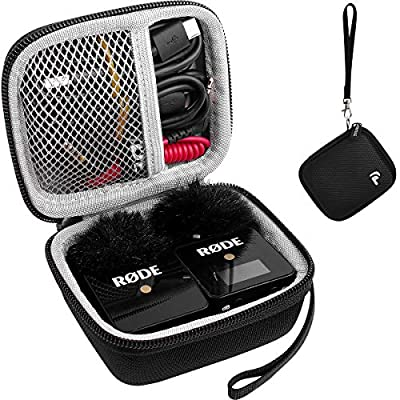 Case for Rode Wireless Go-Compact Wireless Microphone System,Storage Carrying Holder Fits for Transmitter,Receiver,Furry Microphone Windscreen Cover,Connecting Cables and Other Accessories (Box Only)
