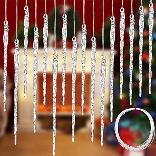 Clear Glass Icicle Christmas Tree Ornament 3.5 - 5.5 inch Twisted Clear Glass Icicle Drop Ornament with 36 Feet Crystal Roll Line for Christmas Wedding (36)