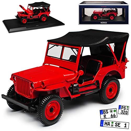 1/4 TON Army Truck Grün Jeep Willys USA Army 2. Weltkrieg Cabrio Rot mit Dach 1/18 Norev Modell Auto mit individiuellem Wunschkennzeichen