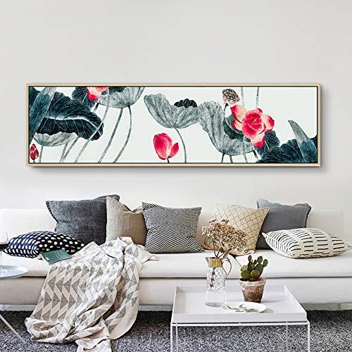 WSNDGWS Nuevo Chino Pintado a Mano Lotus Bed Head Decoración Pintura Sala de Estar Dormitorio Estudio Pintura Colgante de Pared
