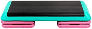 Portzon Platform Stepper, with 4 Aerobics Premium Nonslip Risers Steps Trainer Fitness Workout System Up to 500 lbs