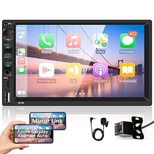Podofo Autoradio Bluetooth Doppel Din Apple Carplay 7 Zoll Bildschirm Autoradio mit Freisprecheinrichtung RüCkfahrkamera Car Radio Touchscreen Bluetooth/FM/USB/Mirror Link MP5 für Android/IOS