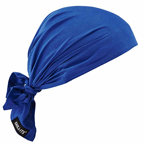 Ergodyne Chill-Its 6710 Evaporative Polymer Cooling Dew Rag, Solid Blue