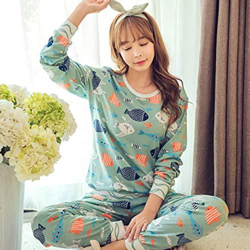 JFCDB Nachthemd Dames Pyjama Sets Lange mouw Pak Dier Cartoon Groot Maat Meisjes Nachtkleding Dames Pyjama Pak Huiskleding Pyjama Femme, haoduoyu blauw, M
