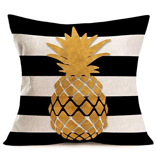 Fundas para Cojines Golden Pine Funda Almohada Blanco Negro Estilo Verano Funda Almohada Frutas Tropicales para Exteriores 18 '(Pine-8)