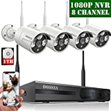 【2020 Update】 HD 1080P 8-Channel OOSSXX Wireless Security Camera System,4Pcs 720P(1.0 Megapixel) Wireless Indoor/Outdoor IR Bullet IP Cameras,P2P,App, HDMI Cord & 1TB HDD Pre-Install