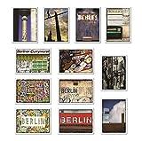 tom bäcker Berlin I - Postkarten Set - besondere Karten Konvolut - 12 Stück Ansichtskarten Fernsehturm - Deko - Typografie - Currywurst - Ubahn - Streetart