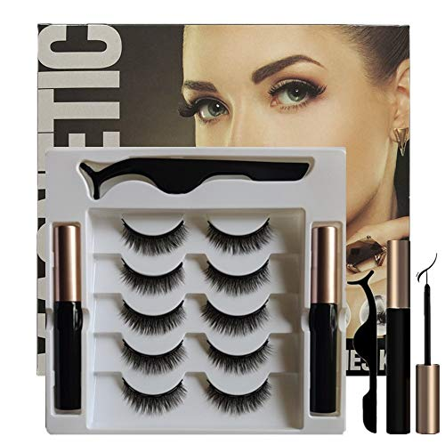 ROLANGINA Magnetic Eyeliner and Lashes Magnetic Eyelashes Kit with Tweezers.No Glue Reusable Silk False Lashes, Easier To Use Than Traditional eyelashes magnetic eyeliner. (SIZE:D8)
