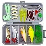 MKNZOME 33 Pcs Kit de leurres de pêche Ensemble,y Compris Les leurres de cuillère, vers en Plastique Doux, CrankBait, jigs, topwater (avec boîte de plaquage Libre)