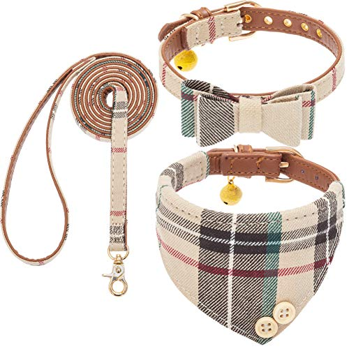 Bow Tie Dog Collar and Leash Set for Small Dogs - Puppy Leash Collars Classic Plaid - Adjustable Size with Golden Bell - Perfect for Small Breeds Boys