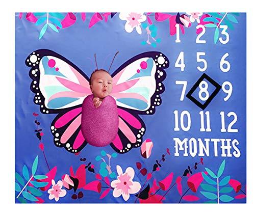 FZ FUTURE Beau Papillon, Couverture mensuel bébé Milestone, Enfant Nouveau-né la première année Milestone Blanket, Fibre de Polyester, Photographie Toile de Fond Photo Prop