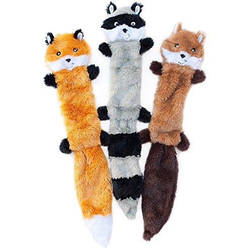 ZippyPaws  Skinny Peltz No Stuffing Squeaky Plush Dog Toy Fox Raccoon and Squirrel  Large
