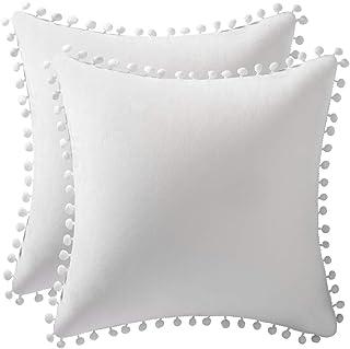 Best DEZENE Decorative Pillow Cases 18x18 Off-White: 2 Pack Cozy Soft Pom-poms Velvet Square Throw Pillow Covers for Farmhouse Home Decor Review