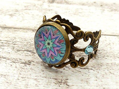 Filigraner Ring mit Mandala Motiv in türkis lila pink