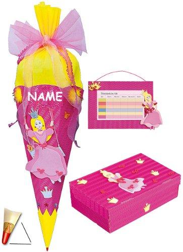 alles-meine.de GmbH 3 TLG. Set: BASTELSET Schultüte - Prinzessin auf Schaukel 85 cm - incl. Namen + Schulbox + Stundenplan - Zuckertüte Roth - Mädchen Prinzessinnen Schmetterling..