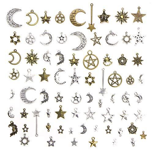 YIHEXUANkeji 73 tipos de bronce, accesorios de plata tibetana, accesorios de pulsera, accesorios de bricolaje, conjunto de cielo estrellado, conjunto de colgantes, materiales hechos a mano