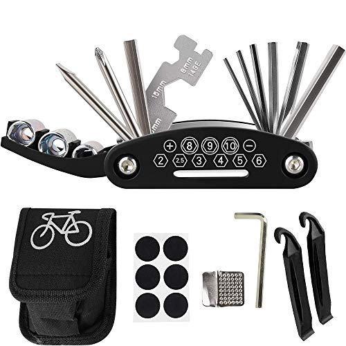 WYIBO Bike Tool Kit, Multi-Function Bicycle Repair Tool with Storge Bag, Mountain Bike Fix Tool with Patch Kit and Tire Levers