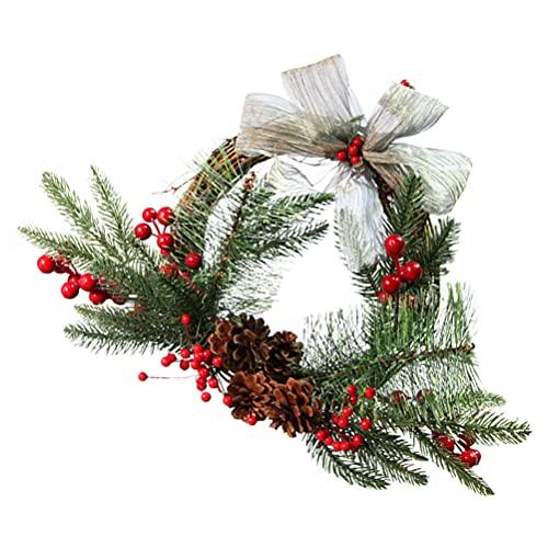VOSAREA Guirnalda Verde Artificial con Cono de Pino de Baya Roja Hojas Verdes Y Arpillera Bowknot Ornamentos Guirnalda de Puerta de Navidad Guirnalda Colgante Decoración para La Ventana