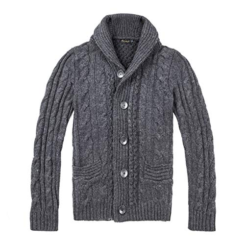 BOTVELA Men's Shawl Collar Cardigan Sweater Button Front Solid Knitwear (L, Dark Grey)