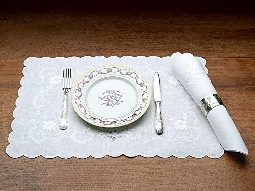 "Schweitzer Linen Patrician Tablecloths, White on White (72"" x 180"")"