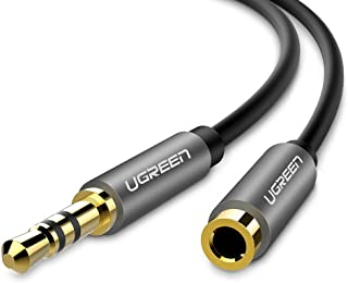UGREEN 3.5Mm Male To Female Extension Stereo Audio Extension Cable Adapter Gold Plated Compatible For Iphone Ipad Smartphones Tablets Media Players Black Pvc 15FT Multi