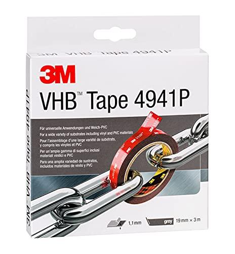 3M VHB 4941F Montage Klebeband doppelseitig - starke und dauerhafte Verbindung von Aluminium, Edelstahl, verzinktem Stahl, Polycarbonat oder ABS - 19mm x 3m, Grau, Dicke: 1.1mm (1-er Pack)