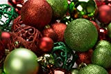 R N' D Toys 100 Red and Green Christmas Ornament Balls Shatterproof + 100 Metal Ornament Hooks, Hanging Ornaments for Indoor/Oudoor Christmas Tree, Holiday Party, Home Decor