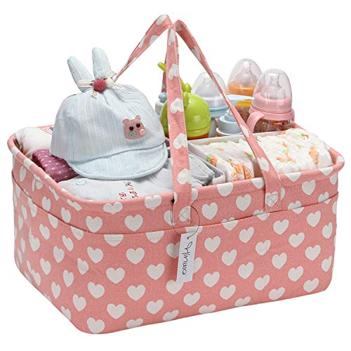 Hinwo Baby Windel Caddy 3-Compartment Infant Nursery Tote Aufbewahrungsbehälter Tragbare Organizer Neugeborenen Dusche Geschenkkorb mit abnehmbarem Teiler 15 unsichtbaren Taschen für Windeln