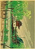 HuGuan Lienzo Y Arte De Pared PóSter 60x90cm Estilo Antiguo japonés Adecuado para la decoración del hogar T31 Pintura Pared Y Estampados Cuadros Sin Marco