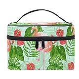 Bolso de maquillaje con cremallera portátil de viaje, con diseño de flores, hojas de palma, para cosméticos, organizador de almacenamiento grande para mujeres