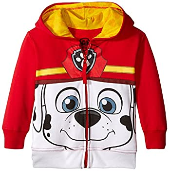 Nickelodeon Toddler Boys  Paw Patrol Character Big Face Zip-Up Hoodies Marshall Red 3T