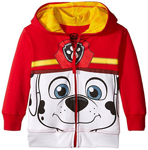 Nickelodeon Toddler Boys  Paw Patrol Character Big Face Zip-Up Hoodies  Marshall Red  4T