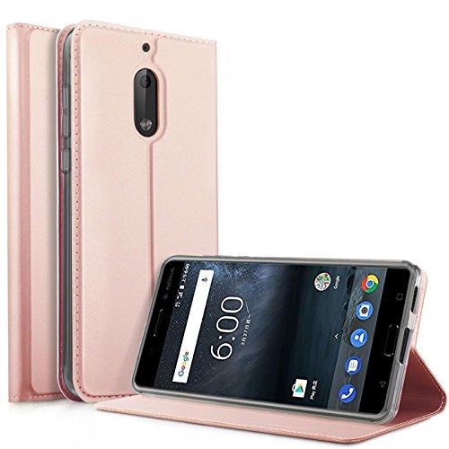 Preisvergleich Produktbild Conie EF25565 Electroplated Flip Case Kompatibel mit Nokia 6,  PU Leder Hülle Flip Wallet Cover Kartenfächer Standfunktion Magnetisch für Nokia 6 Etui Rosegold