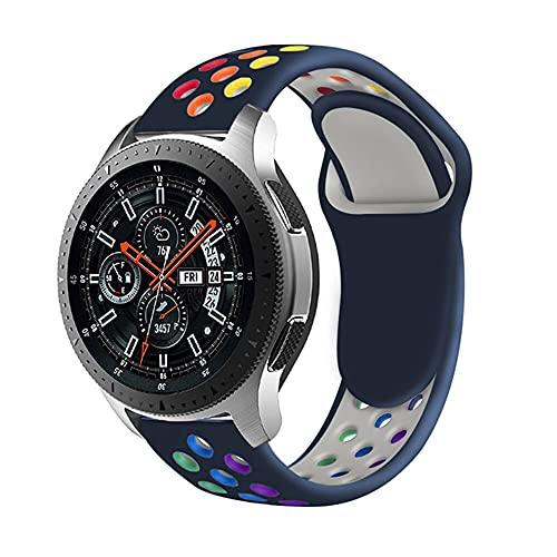 Rosok Cinturino Sostitutivo in Silicone Arcobaleno Compatibile con Galaxy Watch 3 45mm/Gear S3 Frontier/Gear S3 Classic, Cinturino in Silicone di Sportivo Morbido per Galaxy Watch 46mm 22mm - Azul