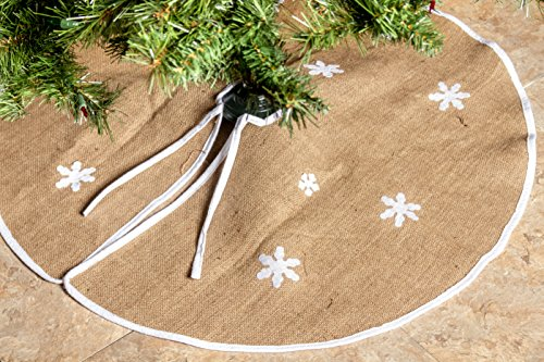 """Rustic Burlap Christmas Tree Skirt - 36"""" Country Xmas Tree Decor Skirts w/ Snowflakes"""