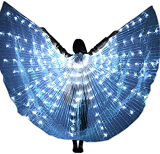 Zoomarlous Women LED Light Isis Wings Belly Dance Costumes 360 Degree Sticks Performance Dancing Supplies Props
