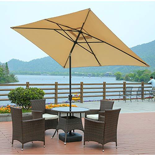 2 * 3m Rechteckiger Gartenschirm Kippbarer Marktschirm Tischschirm Mit Kurbelgriff, Markise Überdachung Aus 180 G Polyester - Blau/Rot/Beige