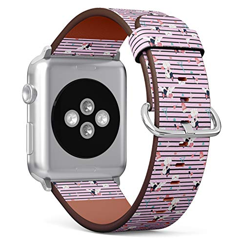 Compatible with Big Apple Watch 42mm & 44mm (All Series) Leather Watch Wrist Band Strap Bracelet with Stainless Steel Clasp and Adapters (Vintage Striped French Bulldogs)