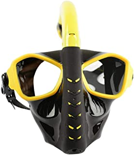 MOXIN 180°Wide View Full Face Snorkel Mask Easy to Breath Anti-Fog Anti-Leak Swimming Snorkeling Mask with Silicon Adjustable Head Straps Dry Top System