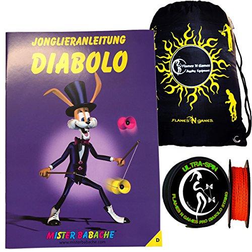 Mr Babache Diabolo Lernen Booklet Broschüre auf Deutsch + 10m ULTRA SPIN Saite String + Reisetasche! Buch vom Diabolo Tricks für Anfänger Von Jedem Alter!