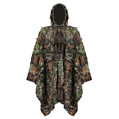 YuanDian Ghillie Suit Poncho Outdoor 3D Blätter Jagd Camouflage Camo Camping Vogelbeobachtung Cape Umhang für Militär CS Dschungeljagd Paintball Airsoft Wildlife-Fotografie Halloween Ahornblatt