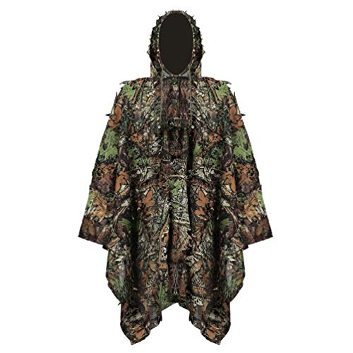 YuanDian Ghillie Suit Poncho Outdoor 3D Blätter Jagd Camouflage Camo Camping Vogelbeobachtung Cape Umhang für Militär CS Dschungeljagd Paintball Airsoft Wildlife-Fotografie Halloween Ahornblatt