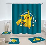 Glückliches Pikachu Wasserdicht Duschvorhang Sets rutschfeste Teppiche Toilettendeckel Abdeckung Badematte Badezimmer Dekor Set Anime Pokemon Pikachu Dekoration Muster Digitaldruck (12 Haken)