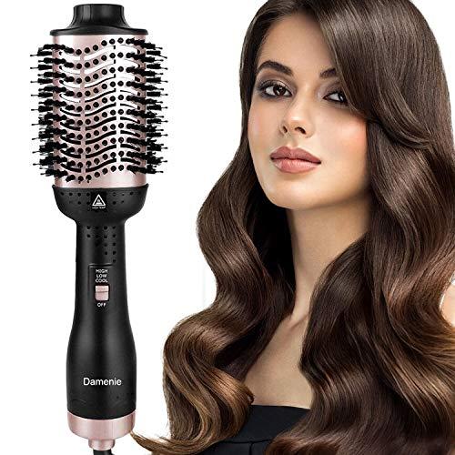 Damenie Ionen-Haartrockner, Upgrade 5 in 1 Stylingbürste Hair Dry Volumizer Hairstyler Heißluftbürste Negativer Lonic Föhnbürste Haarglätter Bürste Kamm für Alle Styling(Schwarz Roségold)