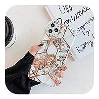 Hjiing iPhone用の幾何学的な花の電気メッキソフトフォンケース1211 Pro Max X XR XS MAX SE 2020 6s 78プラスリングフレームカバー-Style 1-For iphone 12 Pro