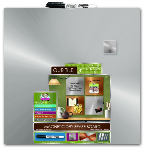 Board Dudes 14 x 14 Inches Magnetic Galvanized Steel Dry Erase Board, Includes 1 Marker and Magnet (DDY63)
