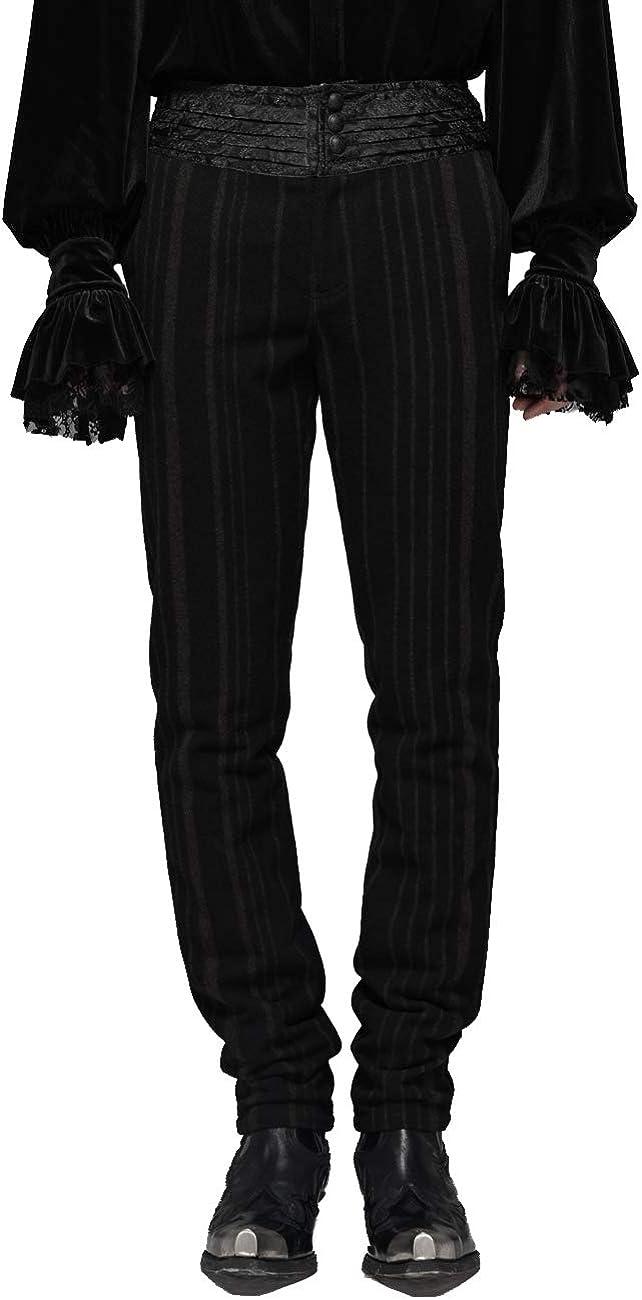 Steampunk Retro Men's Gorgeous Trousers Gentlemen Evening Party Casual Long Pencil Pants