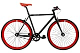 FabricBike- Vélo Fixie Noir, Fixed Gear, Single Speed, Cadre Hi-Ten Acier, 10Kg (S-49, Matte Black & Red 2.0)