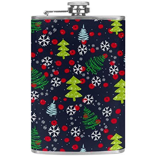Flachmann aus Edelstahl, 237 ml, für Likör, mit Trichter, dunkler Weihnachtsbaum und Schneeflocken-Muster